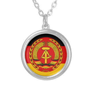 Flag of East Germany - Flagge der DDR (GDR) - NVA Silver Plated Necklace
