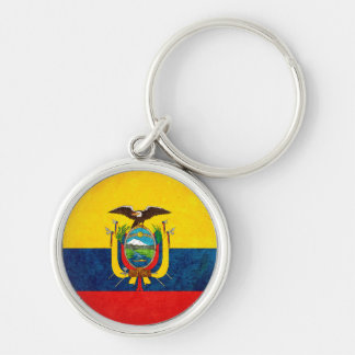 Flag of Ecuador Silver-Colored Round Keychain