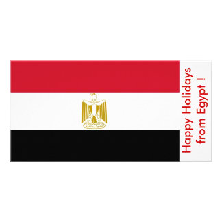 Flag of Egypt Happy Holidays from Egypt Personalized Photo Card