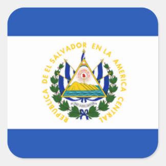 Flag of El Salvador, National Coat of Arms Square Sticker