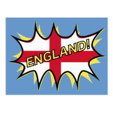 """Flag of England """"KAPOW"""" star Post Card"""