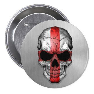 Flag of England on a Steel Skull Graphic Buttons