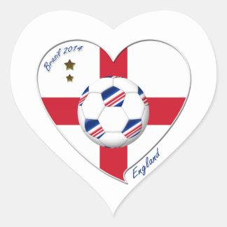 Flag of ENGLAND SOCCER of national team 2014 Heart Sticker