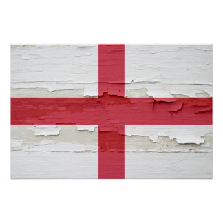 Flag of England Weathered Paint Poster