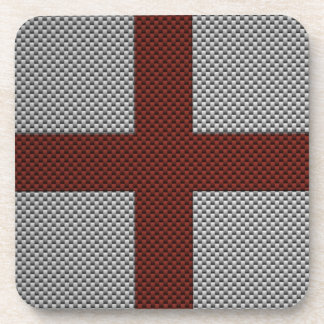 Flag of England with Carbon Fiber Effect Beverage Coasters