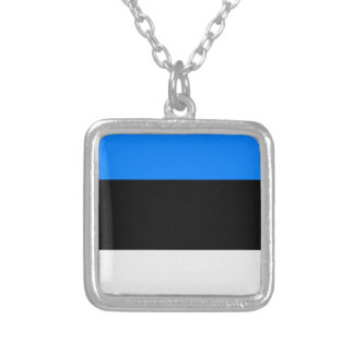 Flag of Estonia Silver Plated Necklace