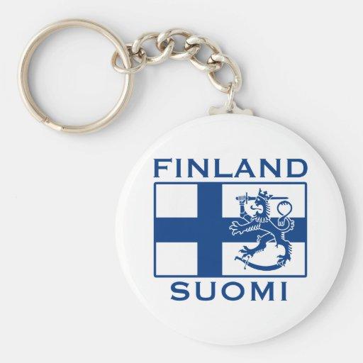 Flag of Finland Basic Round Button Keychain