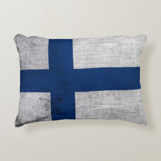 Flag of Finland Grunge Accent Pillow