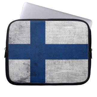 Flag of Finland Grunge Laptop Sleeve