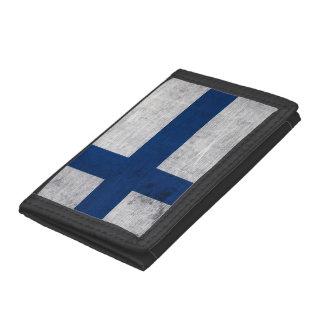 Flag of Finland Grunge Tri-fold Wallets