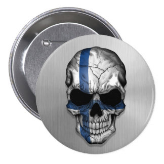 Flag of Finland on a Steel Skull Graphic Pinback Buttons