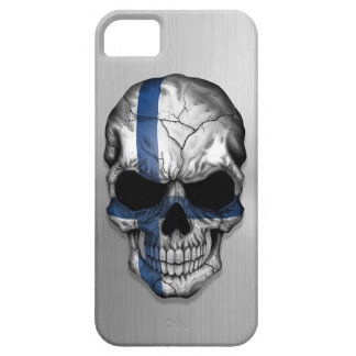 Flag of Finland on a Steel Skull Graphic iPhone 5 Case