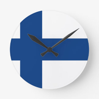 Flag of Finland - Suomen Lippu - Siniristilippu Round Clock