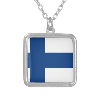 Flag of Finland - Suomen Lippu - Siniristilippu Silver Plated Necklace