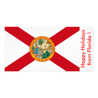 Flag of Florida, Happy Holidays from U.S.A. Custom Photo Card
