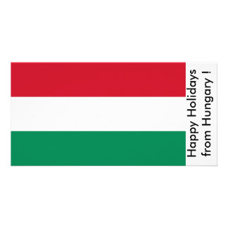 Flag of France Happy Holidays from Hungary Photo Greeting Card