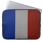 Flag of France with Carbon Fiber Effect Laptop Computer Sleeves