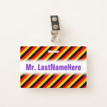 [ Thumbnail: Flag of Germany Inspired Colored Stripes Pattern Badge ]