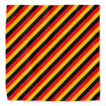 [ Thumbnail: Flag of Germany Inspired Colored Stripes Pattern Bandana ]
