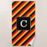 [ Thumbnail: Flag of Germany Inspired Colored Stripes Pattern Beach Towel ]
