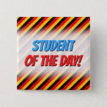 [ Thumbnail: Flag of Germany Inspired Colored Stripes Pattern Button ]