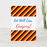 [ Thumbnail: Flag of Germany Inspired Colored Stripes Pattern Card ]