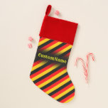 [ Thumbnail: Flag of Germany Inspired Colored Stripes Pattern Christmas Stocking ]