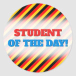 [ Thumbnail: Flag of Germany Inspired Colored Stripes Pattern Round Sticker ]