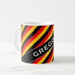 [ Thumbnail: Flag of Germany Inspired Colored Stripes Pattern Coffee Mug ]