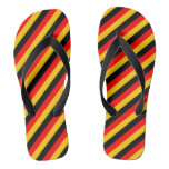 [ Thumbnail: Flag of Germany Inspired Colored Stripes Pattern Flip Flops ]