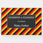 [ Thumbnail: Flag of Germany Inspired Colored Stripes Pattern Guest Book ]