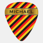 [ Thumbnail: Flag of Germany Inspired Colored Stripes Pattern Guitar Pick ]