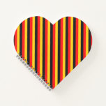 [ Thumbnail: Flag of Germany Inspired Colored Stripes Pattern Notebook ]