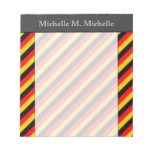 [ Thumbnail: Flag of Germany Inspired Colored Stripes Pattern Notepad ]
