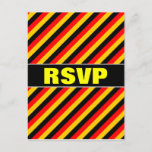 [ Thumbnail: Flag of Germany Inspired Colored Stripes Pattern Postcard ]