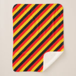 [ Thumbnail: Flag of Germany Inspired Colored Stripes Pattern Sherpa Blanket ]