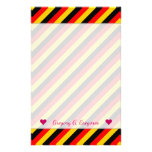 [ Thumbnail: Flag of Germany Inspired Colored Stripes Pattern Stationery ]