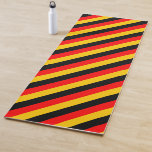 [ Thumbnail: Flag of Germany Inspired Colored Stripes Pattern Yoga Mat ]