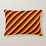 [ Thumbnail: Flag of Germany Inspired Colored Stripes Pillow ]