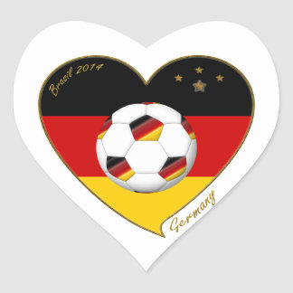 Flag of GERMANY SOCCER of national team 2014 Heart Sticker