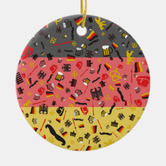 Flag of Germany with German items Ceramic Ornament