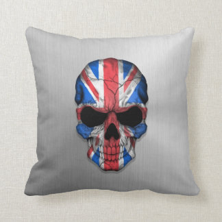 Flag of Great Britain on a Steel Skull Graphic Pillows