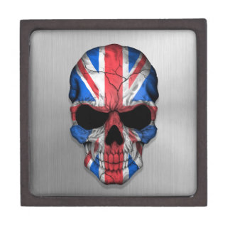 Flag of Great Britain on a Steel Skull Graphic Premium Jewelry Boxes