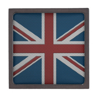 Flag of Great Britain with Carbon Fiber Effect Premium Keepsake Box