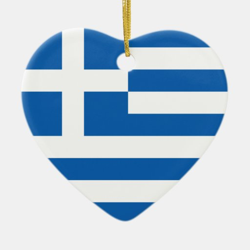Flag of Greece Double-Sided Heart Ceramic Christmas Ornament