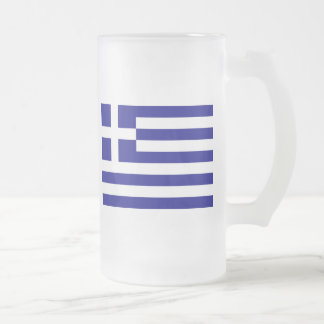 Flag of Greece Frosted Glass Beer Mug