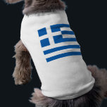 """Flag of Greece, Greek Shirt<br><div class=""""desc"""">The flag of Greece (popularly referred to as the &quot;sky-blue-white&quot; or the &quot;blue-white&quot; and in Greek: &quot;Γαλανόλευκη&quot; or &quot;Κυανόλευκη&quot;), officially recognized by Greece as one of its national symbols, is based on nine equal horizontal stripes of blue alternating with white. There is a blue canton in the upper hoist-side corner...</div>"""