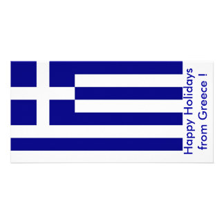 Flag of Greece Happy Holidays from Greece Photo Greeting Card