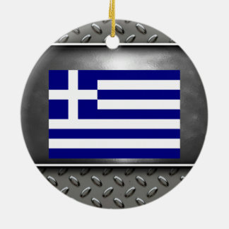 Flag of Greece Double-Sided Ceramic Round Christmas Ornament