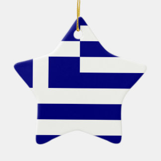 Flag of Greece Double-Sided Star Ceramic Christmas Ornament